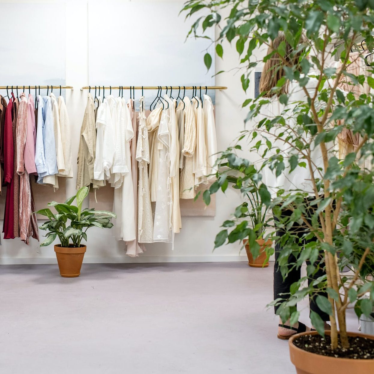 clothes hanged on clothes rack